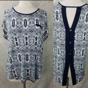 MAURICES Top Keyhole Back Plus Size 1X Paisley